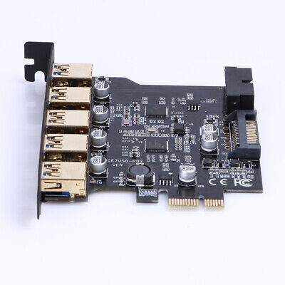 PCI-E To USB 3.0 19-Pin 5 Port PCI Express Expansion Card SATA 15PIN Connec • 13.71£