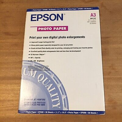 Epson A3 Printer Photo Paper Glossy - 20 Sheets • 4£