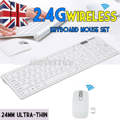 Slim 2.4G USB Wireless Bluetooth Keyboard Mouse Combo Set Full For PC  • 12.89£