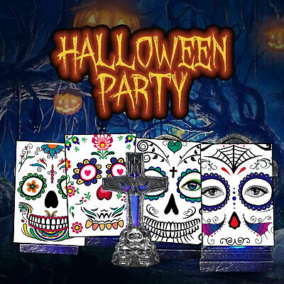 Face Sticker Temporary Tattoo Waterproof Halloween Fake Tattoo Face Decoration • 1.85£