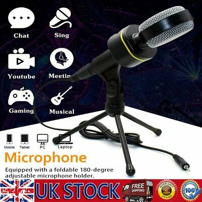 Microphone Mic Kit USB Condenser Studio W/ Tripod Stand For PC Laptop Recording • 14.39£