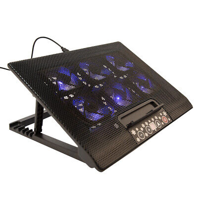 "6 Fans Laptop Cooler Mat Stand Tilt For 12"" 15.4"" 15.6"" 17"" Cooling Pad UK • 13.99£"