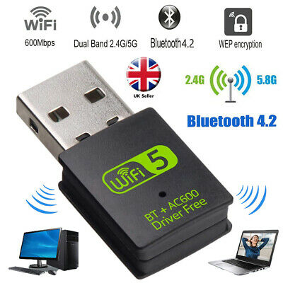 150/600Mbps WiFi Dongle Wireless USB Dual Band Adapter 802.11 2.4-5GHz Laptop PC • 9.80£