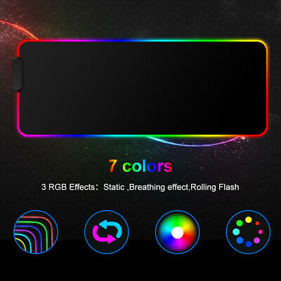 RGB Gaming Mouse Mat Large Desk Pad 80x30cm Colorful LED Lighting For PC Laptop • 11.99£