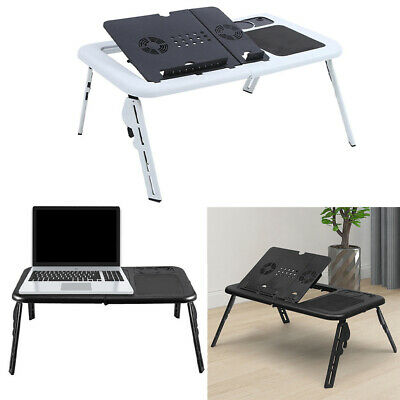 Adjustable Portable Laptop Bed Table Stand Tray Foldable Desk Cooling Fan USB • 15.95£
