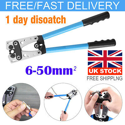 6-50mm² Durable Terminal Battery Cable Lug Plug Crimper Crimping Hand Tool Plier • 17.59£