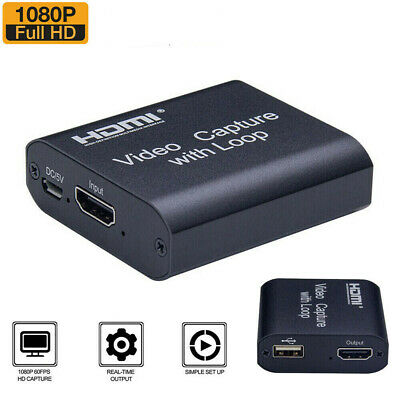 4K HD 1080P 60fps HDMI Video Capture Card USB 2.0 Mic Game Record Live Streaming • 12.49£