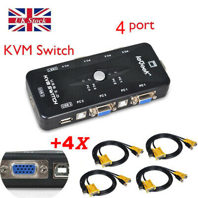 4-Ports USB 2.0 VGA KVM Switch Box Adapter For PC Monitor Keyboard With 4 Cables • 17.97£