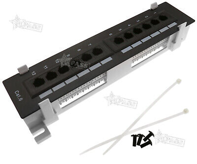 CAT6 12 Port RJ45 110 Network Mini Patch Panel With Rack Wall Mount Bracket • 17.87£