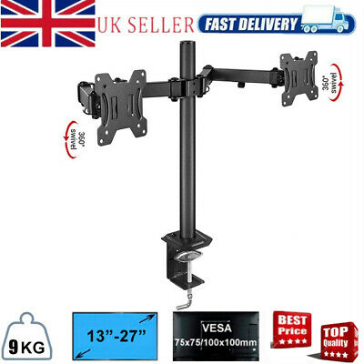 13 - 27  Double Dual Display Computer Screen Monitor Double Arm Mount Desk Stand • 18.93£