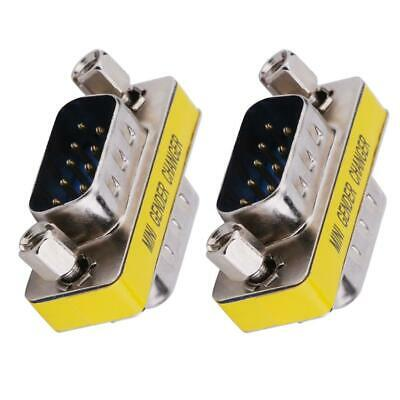 2pcs DB9 Male To Male Adapter Gender Changer Serial RS232 Coupler Straight • 4.37£