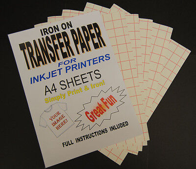 Inkjet Iron On T Shirt Transfer Paper A4 20 Sheets (For Light Fabrics) • 10.99£