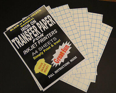Inkjet Iron On T Shirt Transfer Paper A4 5pk (Dark) • 6.99£