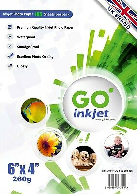 100 Sheets + 5 Extra 6x4 260gsm Glossy Photo Paper Inkjet Printers By Go Inkjet • 4.25£