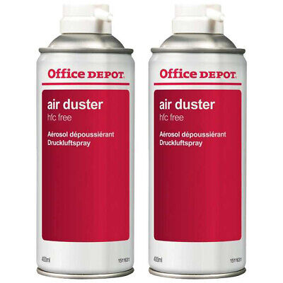 2 X Office Depot Compressed Air Duster Can Laptop Keyboard Cleaner Spray 400ml • 11.95£