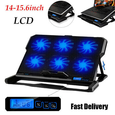 14-15.6  Inch 6 Fan Cooler Laptop Cooling Pad Stand Tray With LED Blue Light NEW • 19.79£