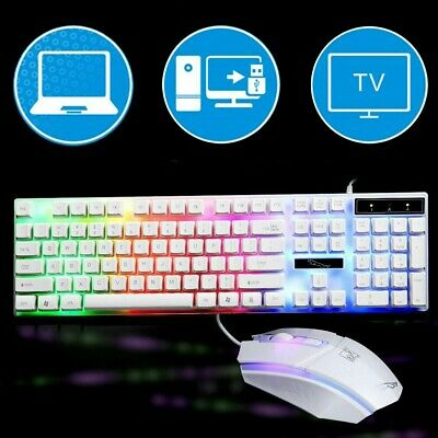 USB Gaming Keyboard Mouse Set Rainbow RGB LED Backlit Wired For PC Laptop PS4 UK • 15.59£