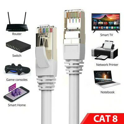 RJ45 Cat8 Ethernet Cable Super Speed SSTP 40Gbps Gigabit LAN Network Patch Lead • 8.95£