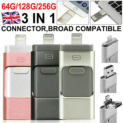 USB I Flash Drive Disk Storage Memory Stick For IPhone IPad PC IOS Android 256GB • 11.99£