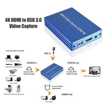 HDMI USB3.0 60FPS 1080P 4K Video Capture Card For Live Streaming Linux Winodw PC • 74.99£
