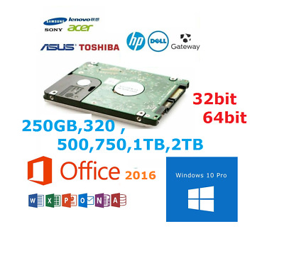Laptop Hard Drive Disk 2.5  SATA Internal HDD With Windows 10 Pre Installed • 34.80£