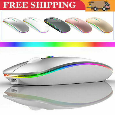 Slim Rechargeable Bluetooth/ USB Wireless RGB Mouse For Tablet PC Andoid IPad • 7.99£