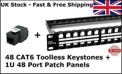 48 Port Toolless Keystone Patch Panel Loaded • 98.50£