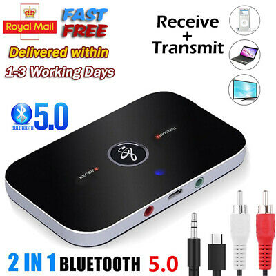 Wireless Bluetooth Transmitter Receiver 2 In 1 Stereo AUX Audio Music Adapter UK • 7.89£
