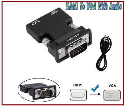 1080P HDMI Female To VGA Male With Audio Output Cable Converter Adapter UK • 3.48£