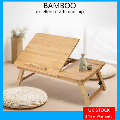 Foldable Bamboo Laptop Table Cooling Holder Desk Multi-Function Table Stand UK • 15.99£