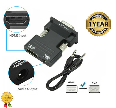 1080P HDMI Female To VGA Male With Audio Output Cable Converter Adapter Lead UK • 6.59£