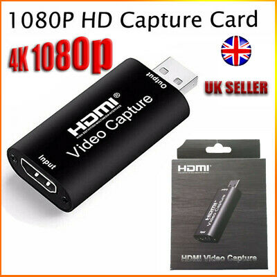 HDMI To Video Capture Card 1080P HD Recorder Game/Video Live Streaming UK SELLER • 7.69£