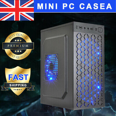 Micro ATX ITX Black USB 2.0 Office Gaming Computer Desktop Case PC Case LED Fan • 24.99£