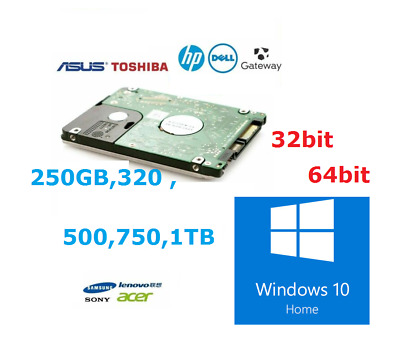 Laptop Hard Drive Disk 2.5  SATA Internal HDD Installed Windows 10 Home  • 22£