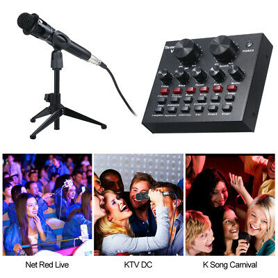 V8 Multifunctional Live Sound Card Adjustable Audio Mixer With Microphone R7J0 • 19.85£