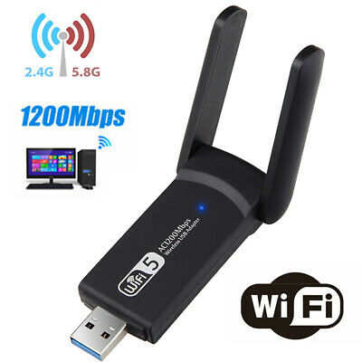 1200Mbps Dual Band 5GHz Long Range  Wireless WiFi Adapter USB 3.0 Antennas~ • 11.12£
