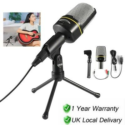 Microphone With Mini Stand Tripod Audio Recording For Computer PC Phone Desktop • 11.98£
