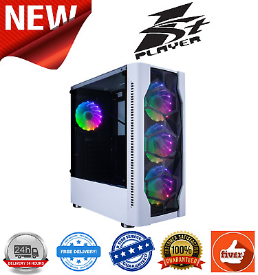 1St Player D4 Mid Tower White Gaming 4x120mm RGB Fans Tempered Glass Side Panel • 41.99£