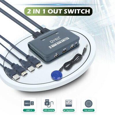 Pro Dual/2 Ports USB KVM Switch HDMI Switcher Splitter Cable For Monitor Laptop • 20.76£
