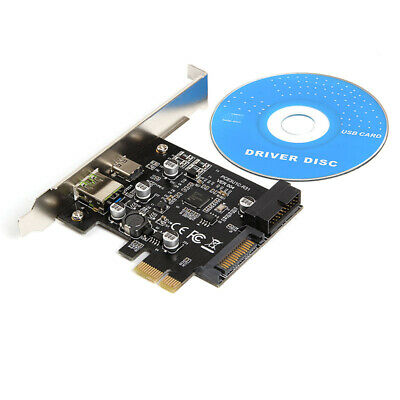 PCI-E To USB3.1 Type-C Expansion Card PCIE To USB 2.4A Fast Charge+19PIN Riser • 11.99£