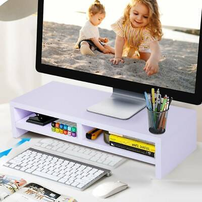 Wood Desktop Monitor Stand LCD TV Laptop Computer Screen Riser Shelf Home Office • 11.98£