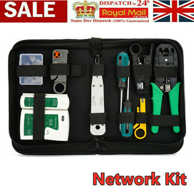 Ethernet Network Kit RJ45 LAN Cable Tester Crimping Punch Tool Connectors Boots • 10.98£