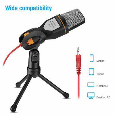 Condenser Microphone Tripod Stand For Game Chat PC Studio Recording Computer • 8.98£