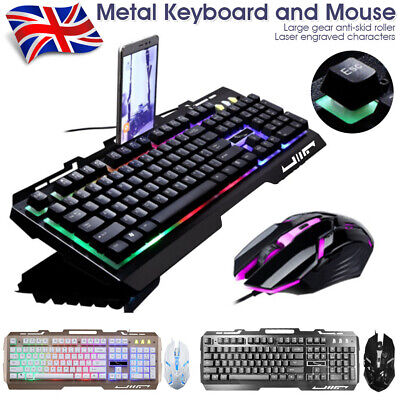 Pro Gaming Keyboard And Mouse Set Rainbow LED Wired USB For PC Laptop PS4 Xbox • 15.73£