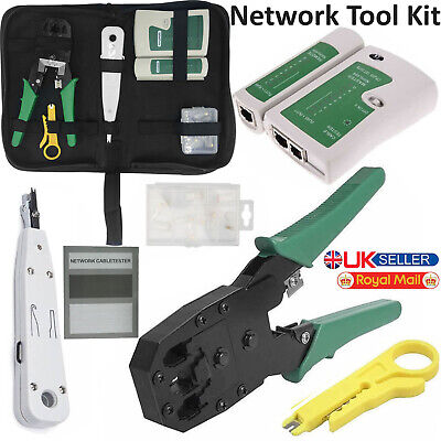 Ethernet Network RJ45 Cat5e Cat6 Cable Tester / Crimping Tool / 10x Connectors • 10.49£