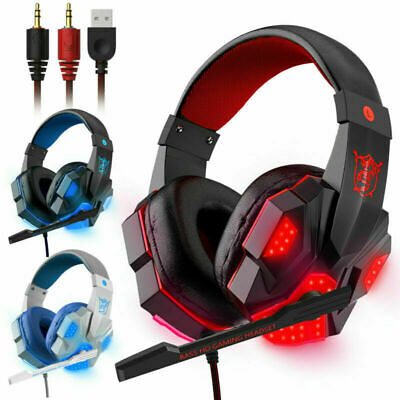 Gaming Headset USB Wired Over LED Headphones Stereo With Mic For Phone/PC/Laptop • 11.95£