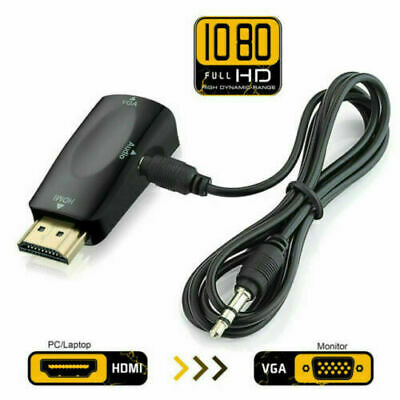 HDMI TO VGA  Adapter/Converter Male To Female Audio For  PC Laptop HDTV DVD UK • 3.10£