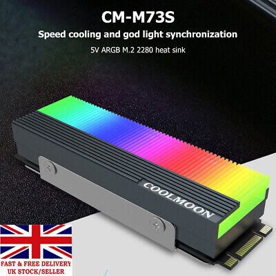 M.2 SSD Heatsink Cooler 2280 ARGB Solid State Disk Radiator Heat Dissipation Pad • 6.85£