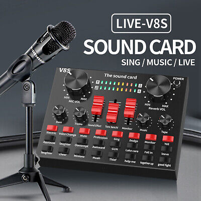 V8S External Sound Card USB Interface Microphone Mixer For Audio/Live/Broadcast • 16.99£