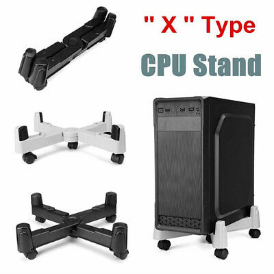 Home PC ABS Castors Tray Computer Tower Desktop Wheels Roll CPU Stand Adjustable • 14.50£